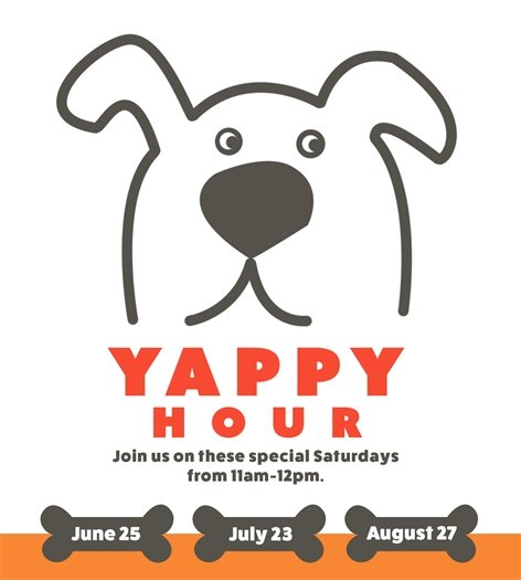 Yappy Hour is back at the Canton Dog Park from 11 am - 12 pm : June 25, July 23 and August 27.