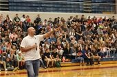 The Relentless Tour Guest Speaker in front of a large group of teenagers