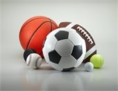 Photo of a variety of sports balls including basketball, soccer ball and more!