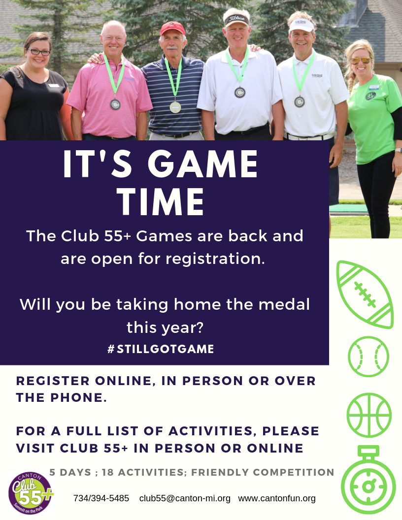 Canton Club 55+ Games 2019 flyer