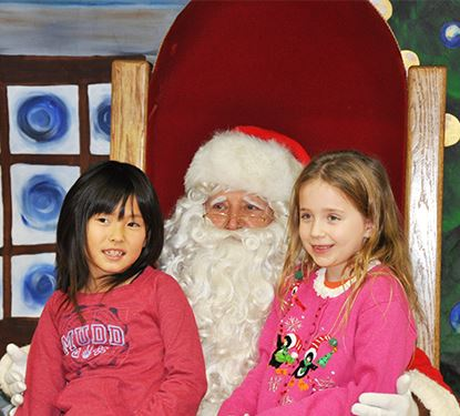 Santa Hearing Holiday Wishes at Canton Annual Tree Lighting Event
