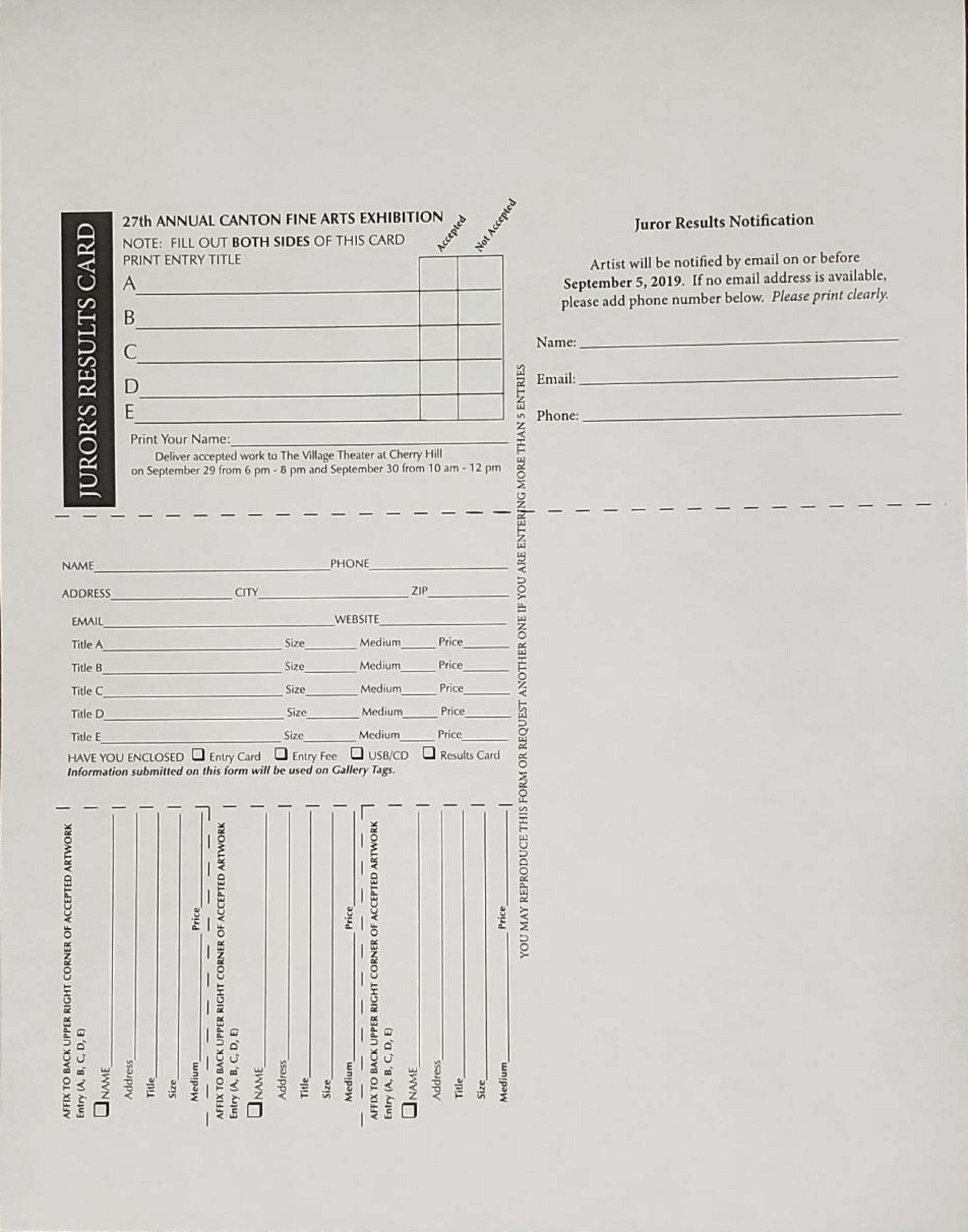 Entry Form and Jurors Results Card